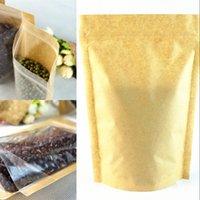 크래프트 종이 가방 음식 수분 배리어 가방 지 플락 씰링 파우치 식품 포장 가방 재사용 가능한 플라스틱 전면 투명 스탠드 위로 가방 229 J2