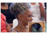 Mulheres Cinza Cabelo Cabelo Prepego Chegon Extensão Prata Cinza Afro Puff Kinky Curly Curly Cordilheiro Cabelo Humano Clipe em Cabelo Real 1 Pcs