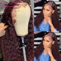 Lace Wigs 250 Density Deep Wave Front Human Hair For Women PrePlucked Brazilian Remy Burgundy 99J Wig 4x4 Closure