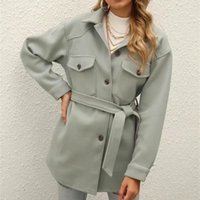 Casual Woman Loose Sashes Woolen Shirt Coat 2021 Spring Autumn Fashion Ladies Soft Warm Jacket Female Elegant Outwear Women's Jackets