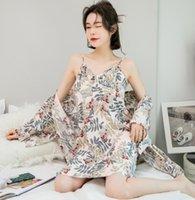 Women's Sleepwear Night Gown Set Spring Nightwear Print Soft Pajamas Cotton Women Fresh Suits Loose Bathrobes Lingerie Femme Sexy Pijama Dre