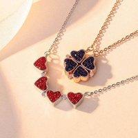 necklace love Clover Nelace Four Leaf combination folding pendant rose gold bone chain full Diamond Red