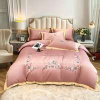 Bedding Sets Luxury Bean Baste Set European Style Flower Vine Embroidery Duvet Cover Cotton Sheet 1.5 1.8 2.0m Bed Home Textile