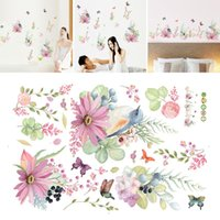 Wall Stickers Bird Removable PVC Background Flower Butterfly Classroom Decals Art Sticker Home Decor Waterproof Living Room Bedroom