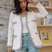 활주로 한국 가을 겨울 여성 자켓 트림 펄 버튼 모직 슈트 트위드 자켓 코트 싱글 브레스트 겉옷 코트 탑 옷 여성
