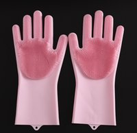 Magic Washing Brush Silicone Glove Resuable Household Scrubber Anti Scald Dishwashing Gloves For Kitchen Bathroom Cleaning Tools