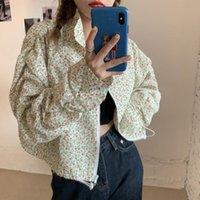 Chaquetas de mujer Cottagecore Floral Impreso de manga larga 2021 Primavera Mujeres Zip Up Soporte Cuello Abrigo Tops Dulce Casual Outerwear Moda
