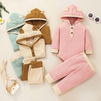 Clothing Sets Autumn 2Pcs Baby Girls Boys Waffle Cute Outfits Borns Unisex Splicing Hoodies Tops Long Sleeve Rompers Pants
