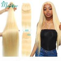 Monstar 613 Blonde Bundle con cierre de encaje de 5x5 Pelo humano remy remy peruano 28 30 32 34 36 pulgadas 3 paquetes con 613 cierre