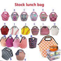 Neoprene Baseball Printing Waterproof Food Beverage Bento Box Tote Bags Picnic Lunch Zipper Bag 30x29cmF6OH 8RQM