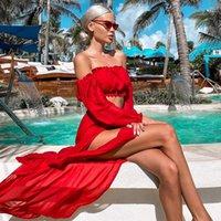 Propcm Iki Parçalı Set Mesh Sheer Bikini Kapak-UPS Set See-through Uzun Kollu Mahsul Tops ve Kapak Up Etekler İki Parçalı Mayo Plaj Elbiseleri