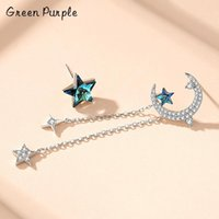 Stud S925 Sterling Silver Star & Moon Asymmetry Crystal Earring Style For Women Fine Jewelry Fashion Party Gift