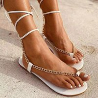 Sandals Lapolaka Ankle Strap Flat Heel Lace-Up With Chain Summer Novelty Cool 2021 Woman Beach Shoes Big Size 35-43