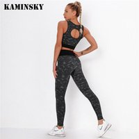 Kaminsky Sports Bra+Leggings Women Outfit Gym Set Clothes Seamless Workout Fitness Tacksuit Suit Female Sets Women's Tracksuits