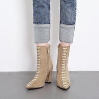 Boots 2021 Ankle Women Autumn Pointed Toe T-tied Suede Leather High Top Shoes Outdoor Casual Botas De Mujer