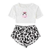 desgastar pijamas duas piech sexy curta rodada coleira V-em forma de lata de leite bordado lazer simples novo padrão de impressão de casa mulheres confortáveis e