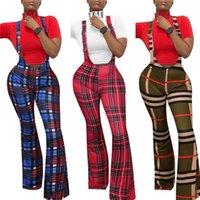 Kadın Pantolon Capris Moda Kadınlar Ekose Baskı Askı Fermuar Kapatma Yüksek Bel Flared Pantolon Slim Fit Tayt Yaz için Tulumlar Tulum