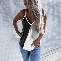 Women's Tanks & Camis KANCOOLD T-shirt Women Fashion V-neck Camisole Sleeveless Shirt Casual Splicing Color Tops 2021 Summer May28