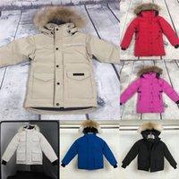 Canadá canadiense abrigo abajo niños ropa acolchada marca gruesa ganso piel chaqueta con capucha parque parkas blanco pato con capucha amortiguadores niños infaker chaquetas impermeable