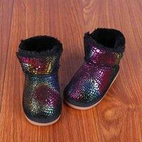 Bottes de neige des garçons intégrés d'hiver de nouvelle imitation de fourrure et de chaussures d'enfants épaissies Bottes courtes pour enfants chauds et colorés