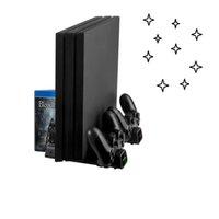 Para PS4 Pro PS4Slim Console Chargers Vertical Refrigeração Controlador de Refrigeração Base de carregamento 2 Refrigerador 10 Jogos Armazenamento Sony PlayStation 4