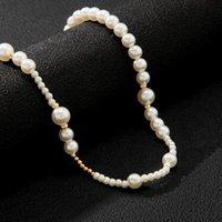 Chokers Imitation Pearl Short Choker Necklace For Women Fashion Asymmetry Beaded Chain Men 2021 Jewelry Neck Collar