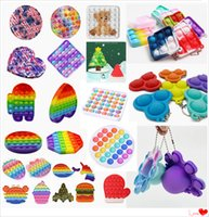 Rainbow Pop Fidget Toy Party Favor Sensory Push Bubble Autism Special Needs Anxiety Stress Reliever for Kids Family Office Fluorescen DHL Fast Ship