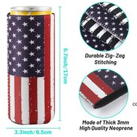 Drinkware Handle 12oz Slim Beer Can Sleeves Neoprene Cooler Covers Fit For 330ml Energy Cans Holder Case Bags DHE7564