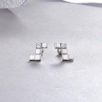 Stud Creative Earring Accessories S925 Silver Diamond Letter Earrings Ladies Zircon Fashion Personality Simple Jewelry