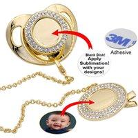 Personalizado luxo em branco sublimação chupeta atacado por atacado bling para chupeta de bebê #