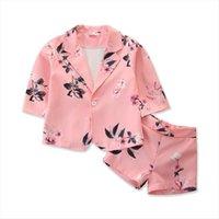 Crianças meninas 2 pcs roupas conjuntos de flores impressão manga longa blazer casaco shorts calças 0 5y