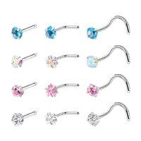 20G Nose Rings 316L Stainless Steel Zirconia Screw Studs for Women Men Body Piercing Jewelry