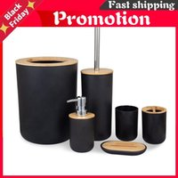 6Pcs set Bamboo Wooden Toothbrush Holder Tumblers Teeth Brushing Cup Emulsion Container Bathroom Kitchen Accessories Bath Accessory Set