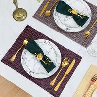 Maty podkładki podkładki Europejski styl PU skórzany krokodyl wzór mata stołowa podkładka izolacyjna dekoracyjne podstawki kawy