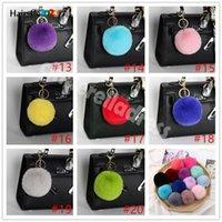 Soft Rabbit Fur Ball Plush Fuzzy Fur Key Chain POM POM Keychain Car Bag Keychain Key Ring Pendant Jewelry Party Gift HY06