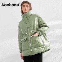 Aachoae Pure Winter Lightweight Down Jacket Women Thick Warm Batwing Long Sleeve Loose Doudoune Pocket Ultra Light Duck Down 210819
