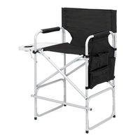 Chaise de réalisateur de meubles de camp sans transport de sac argenté tuyau de fer blanc Tuyau noir en plastique en plastique pulvérisé