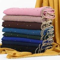 스카프 여자 거품 쉬폰 hijab 스카프 럭셔리 쉬머 크리스탈 체인과 함께 가장 깊은 풀 림 히 자브 우아한 솔리드 컬러