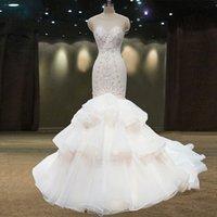 Elegant White Sleeveless 2021 Mermaid wedding Dresses Scoop Neckline Beaded crystal Tiered Ruffles Formal Plus Size Bridal Gowns