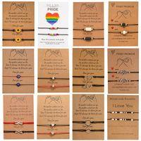 2 unids / set Charm pulsera para amistad parejas infinitas amor cuentas brazaletes mujeres hombre afortunado deseo tarjeta joyería regalo