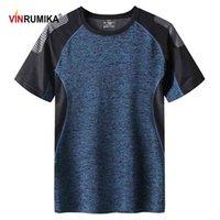 남자 여름 빠른 건조한 스포츠 티셔츠 맨 야외 스포츠 캐주얼 O 넥 그레이 짧은 소매 티셔츠 티셔츠 탑 4XL 5XL 6XL 7xl 210324