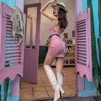 Le palais vintage 2021 ursprüngliche rosa faux wildleder dight strecke backless kleid sommer mini spaghetti richtung sexy kleider frau lässig