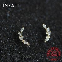 Stud INZAReal 925 Sterling Silver Ziron Leaves 14K Gold Earrings For Women Hiphop Fine Jewelry Accessories Drop