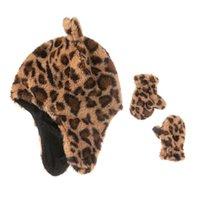 Autunno inverno caldo leopardo stampa il cappello dei cartoni animati per bambini cappello dei cartoni animati + guanti set in inserimento bambino natale all'aperto ciclismo sportivo bicchiere da due pezzi cappelli all'uncinetto cranio capg99i7i2