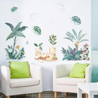 Wall Stickers Colorful Cat Plant Pvc Decals Home Decor For Kids Rooms Decoration Mural Custom