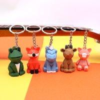 Creativo cartone animato geometrico sfaccettato Dinosauro Panda Doll Keychain Gioielli Coppia Coppia Car Key Catena Zaino Appeso regalo 9 colori