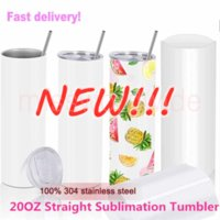 DHL!Factory Direct Sale 20oz Sublimation Tumblers Blanks 304 Stainless Steel Tapered Straight Tumblers Cups Water Bottles Coffee Mug DIY MS24