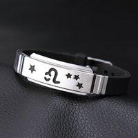 Zodiac Braccialetto in acciaio inox Scava fuori segno braccialetto regolabile 12 Constellation Birthday Souvenirs Regali Gioielli DHL TntsShipping432 T2