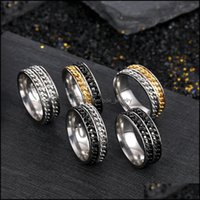 Jewelrygood Quality Double Rotatable Chains Ring Stainless Steel Spin Band Rings For Men Women Hip Hop Fashion Jewelry Drop Delivery 2021 Jh