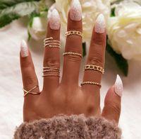 8pcs set Vintage Punk Gold Ring Set for Women Men Fashion Retro Antique Finger Ring Fashion Party Jewelry Lot